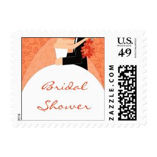 Orange Bridal Shower Postage Stamps