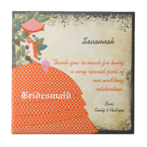 Orange Bridesmaid Thank You Tile Gown with Tree