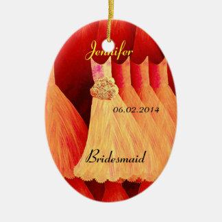 ORANGE Bridesmaid Thank You Wedding Ceramic Ornament