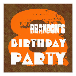 ORANGE BROWN 8th Birthday Party 8 Year Old V11D1 Invitations