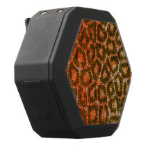 Orange Brown Abstract Cheetah Black Bluetooth Speaker