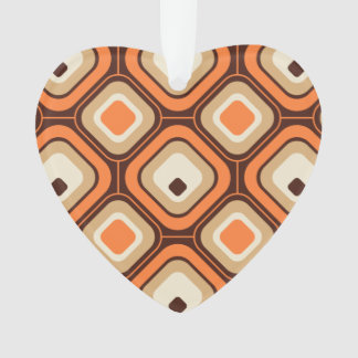 Orange, brown and beige squares ornament