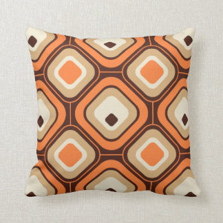 Orange, brown and beige squares pillow