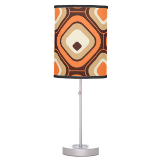 Orange, brown and beige squares table lamp