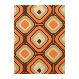 Orange, brown and beige squares wood wall art