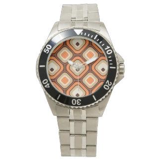 Orange, brown and beige squares wrist watch