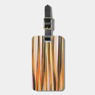 Orange Brown and Peach Autumn Stripy Lines Pattern Bag Tag