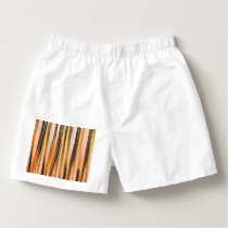 Orange Brown and Peach Autumn Stripy Lines Pattern Boxers