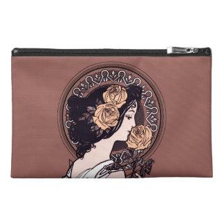 Orange brown art nouveau travel accessory bags