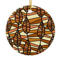 Orange Brown Autumn Leaves Pattern Ceramic Ornament