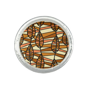 Orange Brown Autumn Leaves Pattern Ring