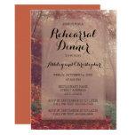 Orange Brown Autumn Leaves Wedding Rehearsal Card