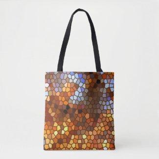 Orange Brown Autumn Mosaic Abstract Tote Bag