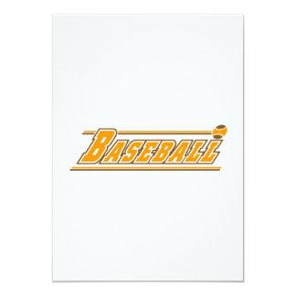 Orange brown baseball logo 5x7 paper invitation card