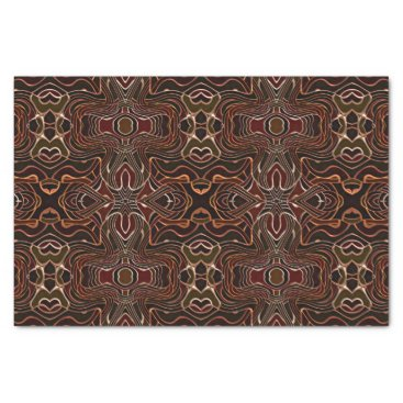 DeskDrawer Orange Brown Black White Nouveau Deco Pattern Tissue Paper