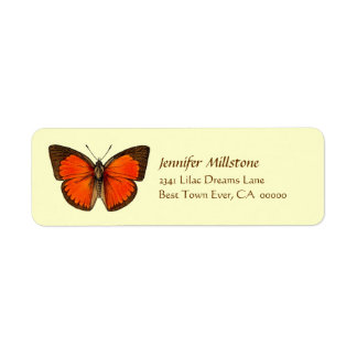 Orange & Brown Butterfly Address Label