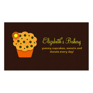 orange brown cupcakes bakery business card