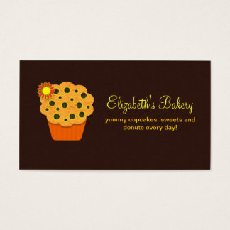 orange brown cupcakes bakery business card