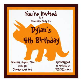 "Orange & Brown Dinosaur Birthday Party Invitations 5.25"" Square Invitation Card"