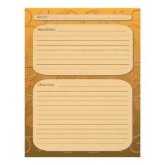 "Orange brown fade classy swirl recipe page 8.5"" x 11"" flyer"