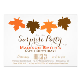 Orange & Brown Fall Leaves Birthday Surprise Party Card