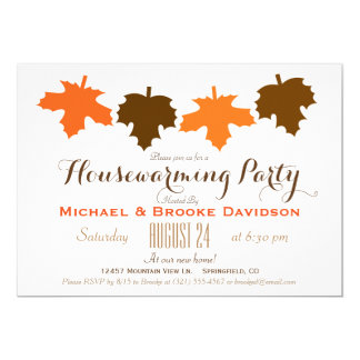 Orange & Brown Fall Leaves Housewarming Party Card