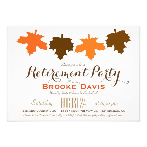 Orange & Brown Fall Leaves Retirement Party 5x7 Paper ...