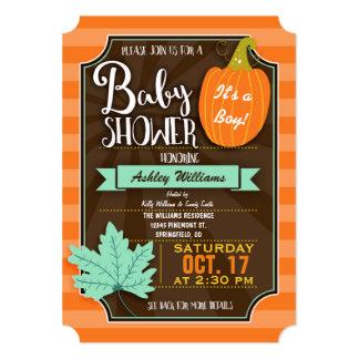 Orange & Brown Fall or Halloween Baby Shower Card