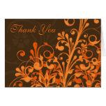 Orange Brown Floral Fall Wedding Thank You Card