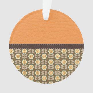 Orange & Brown Flower Pattern on Leather