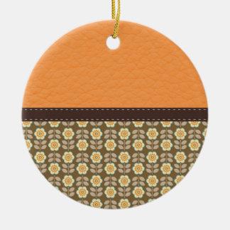 Orange & Brown Flower Pattern on Leather Ornaments