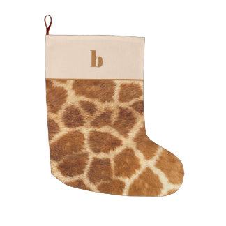 Orange Brown Giraffe Print Monogram Christmas Large Christmas Stocking
