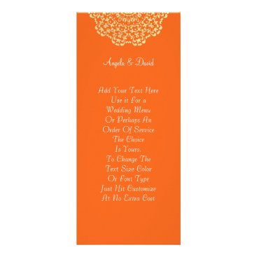 Professional Business Orange Brown Gold Lacy Pattern Personalized Rack Card