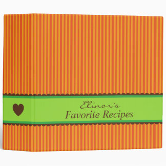 Orange brown green kitchen recipe binder organizer