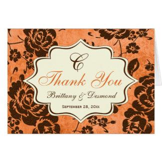 Orange Brown Ivory Floral Damask Thank You Card