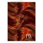 Orange brown marbled waves greeting card