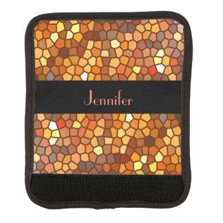 Orange Brown Mosaic Abstract Luggage Handle Wrap