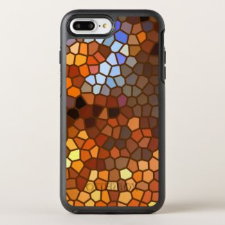Orange Brown Mosaic Abstract Pattern OtterBox Symmetry iPhone 7 Plus Case