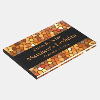 Orange Brown Mosaic Birthday Party Guest Book
