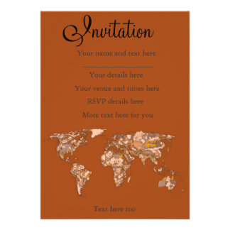 Orange brown mother earth personalized invites