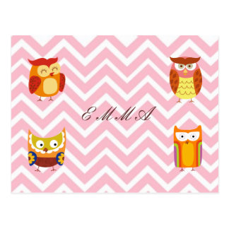 Orange & Brown Owl Family on Chevron Background Postcard