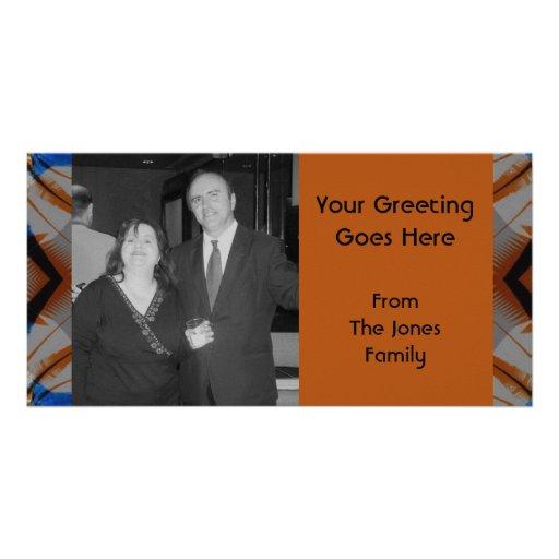 orange brown pattern photo greeting card