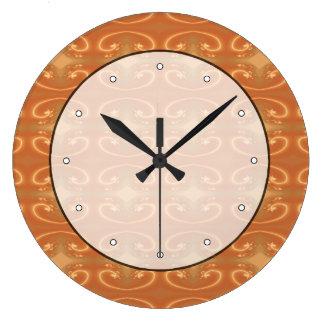 Orange - Brown Pattern, with Swirls. Large Clock