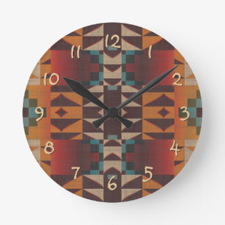 Orange Brown Red Teal Blue Eclectic Ethnic Art Round Clock