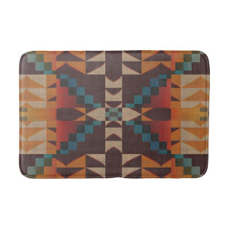 Orange Brown Red Teal Blue Eclectic Ethnic Look Bathroom Mat