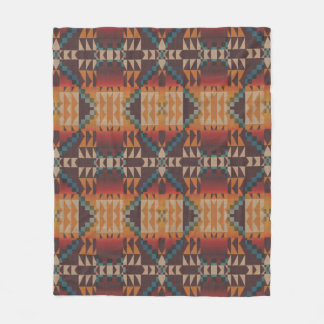 Orange Brown Red Teal Blue Eclectic Ethnic Look Fleece Blanket
