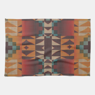Orange Brown Red Teal Blue Eclectic Ethnic Look Kitchen Towel