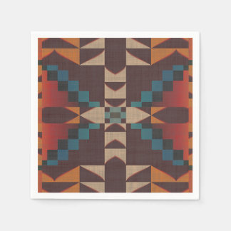 Orange Brown Red Teal Blue Eclectic Ethnic Look Paper Napkin