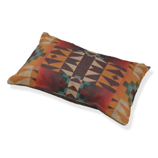 Orange Brown Red Teal Blue Eclectic Ethnic Look Pet Bed
