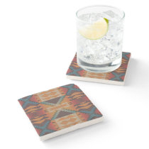 Orange Brown Red Teal Blue Eclectic Ethnic Look Stone Coaster